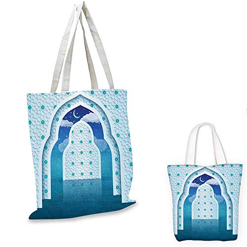 Moroccan shopping bag storage pouch Arabic Quote Textured Mosque Arch Door with Cloudy Star Sky Night Backdrop Print pocketable shopping bag Navy Blue. 15