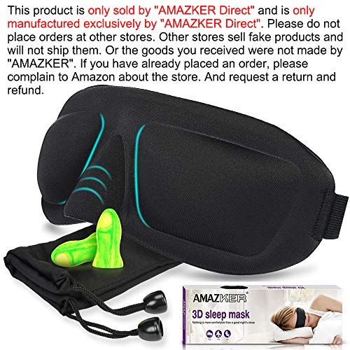 afd95099f64 AMAZKER 3D Contoured Sleep Mask No Pressure on Eyes for A Full Night s  Sleeping