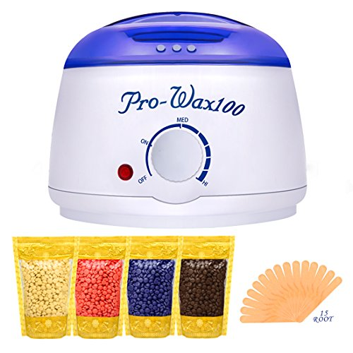 Body Sugar Wax (Boniss Hard Wax Warmer Hair Removal Waxing Kit for Safe at Home Wax Melter with 15 Wax Applicator Sticks and 4 Flavors Hard Wax Beans 3.5 oz a Bag(Strawberry, Lavender,Milk,Chocolate))