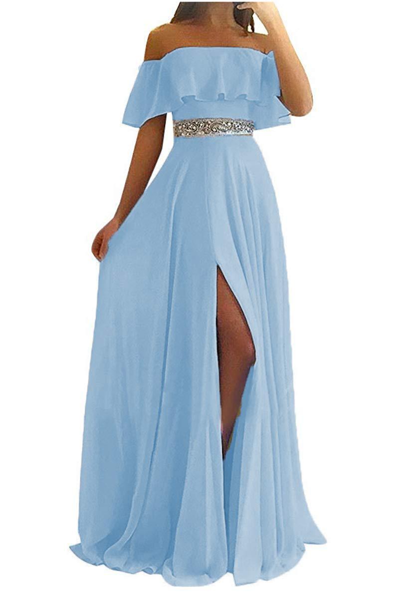 JAEDEN Bridesmaid Dress Long Evening Dresses for Wedding Party Chiffon Bridesmaid Dresses wit Split