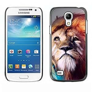 Be Good Phone Accessory // Dura Cáscara cubierta Protectora Caso Carcasa Funda de Protección para Samsung Galaxy S4 Mini i9190 MINI VERSION! // Lion abstract Majestic Cat