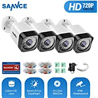 SANNCE Security Camera (4) HD-TVI 720P Weatherproof Bullet Cameras, 1.0MP Hi-Resolution CCTV Cameras with IR Leds and Night Vision