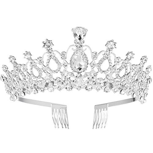 FRCOLOR Wedding Tiara Crystal Rhinestones Tiara Crown with Comb Pageant Princess Crown (Silver)]()