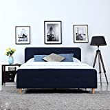 Divano Roma Furniture Mid Century Modern Linen Fabric Low Profile Bed Frame (Queen, Blue)