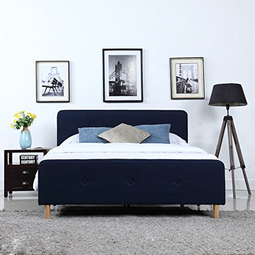 Mid Century Modern Linen Fabric Low Profile Bed Frame (King, Blue)