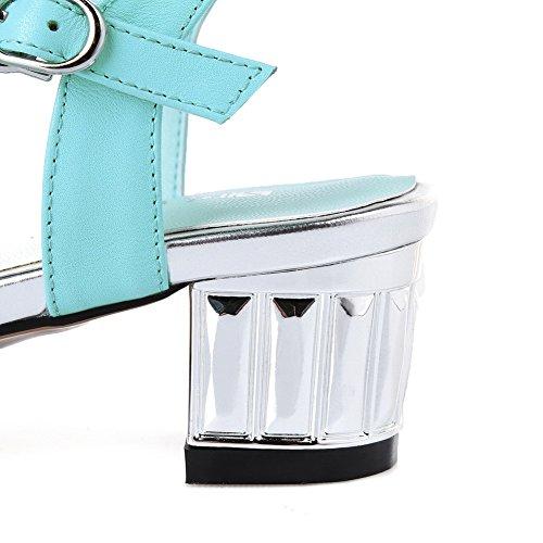AgooLar Mujeres Hebilla Puntera Abierta Mini Tacón Cuero de Vaca Colores Surtidos Sandalia Azul