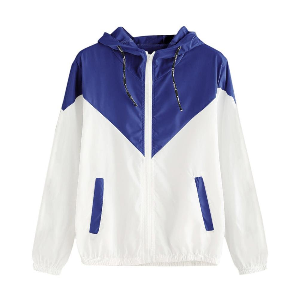 Women Hoodie Jacket,Lelili Warm Three-Color Patchwork Long Sleeve Zip Button Up Pockets Jacket Outwear Coat with Hood (S, Blue-2)