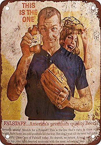 ファルスタッフビールと野球 金属板ブリキ看板注意サイン情報サイン金属安全サイン警告サイン表示パネル