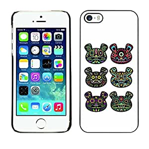 SoulCase / Apple Iphone 5 / 5S / Psychedelic Huichol Bear Totem Pattern / Slim Black Plastic Case Cover Shell Armor