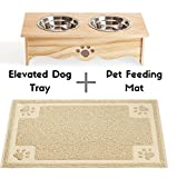 Cavalier Pets Small Dog Bowls Elevated Feeder and Pet Feeding Mat for Cats and SMALL Dogs under 30lbs - BUNDLED SET - Raised Dog Bowls for Small Dogs - Cat Bowl - INCLUDES Waterproof Feeding Mat