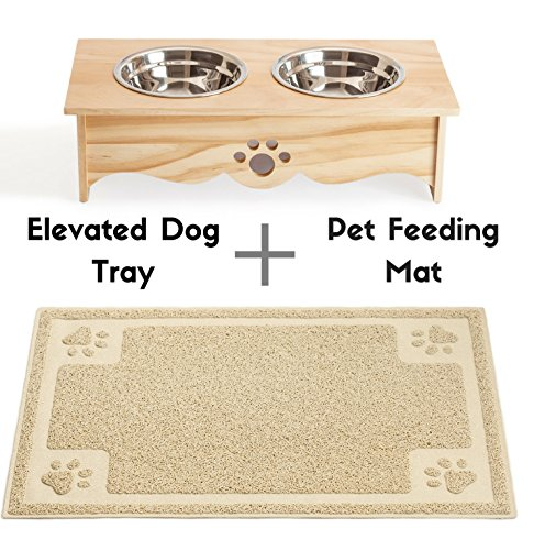 - Cavalier Pets Small Dog Bowls Elevated Feeder and Pet Feeding Mat for Cats and SMALL Dogs under 30lbs, BUNDLED SET, Raised Dog Bowls for Small Dogs, Cat Bowl, INCLUDES Waterproof Feeding Mat