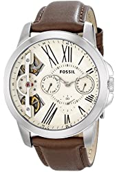 Fossil Men's ME1144 Grant Twist Multifunction Leather Watch - Brown