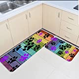 Infinidesign Non-Slip Kitchen Mat Doormat Runner Bathroom Rug 2 Piece Sets - Wood Grain Rainbow Paw Runner Carpet Set - 23.6''x35.4''+23.6''x70.9''