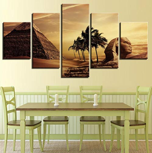 JUNEWIND Canvas Picture Home Wall Art Deco Living Room Frame 5 Pieces Egyptian Pyramid Painting Hd Print Sunset Desert Poster