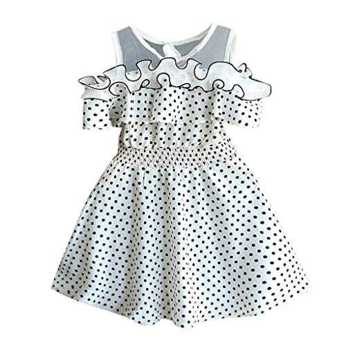 (Sameno Toddler Kids Baby Girls Dot Printing Summer Dress Birthday Party Princess Formal Outfit (White, 4-5)