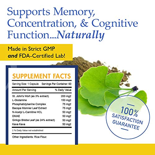 Neuro Clarity Brain Function Booster Nootropic - Super Ginkgo Biloba Complex with St John's Wort, Kava Kava, Bacopin - Supports Mental clarity, Focus, Memory & more. (60 Capsules - 1 Mo Supply)