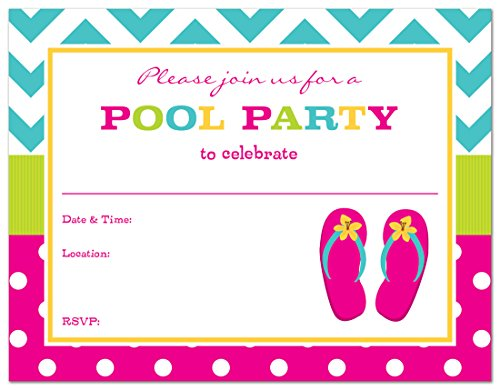 24 Fill-in Girl Flip Flops Pool Party (Beach Ball Birthday Invitations)