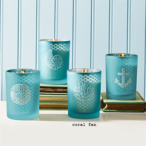 Seaside Filled Soy Candle with Rhinestones and Fresh Sea Breeze Scent - Coral Fan