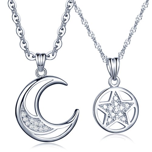Infinite U Fine Moon Star Matching Pendant 925 Sterling Silver Cubic Zirconia Men's Women's Couple Partner Necklace, Silver