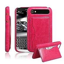Ultra Slim Flip Bracket Cover Case for BlackBerry Classic - Premium Soft PU Leather [ Wallet ] Case Cover for BlackBerry Classic (Bracket - Rose)