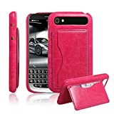 Ultra Slim Flip Bracket Cover Case for BlackBerry Classic - Premium Soft PU Leather [ Wallet ] Case Cover for BlackBerry Classic (Bracket - Rose)