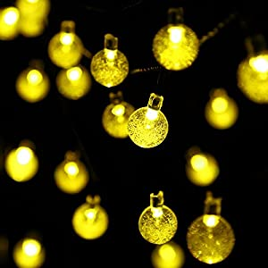 APEXPOWER 2 Packs Solar Powered Globe String Lights 30 LED 21ft Waterproof 8 Modes Christmas Crystal Ball Lights for Outdoor Indoor Thanksgiving Patio Lawn Garden Home Holiday Party Tree (2 Pack)
