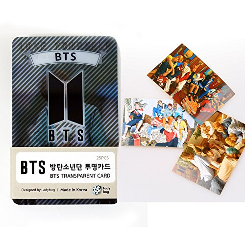 Yourself Card (BTS Transparent Photo Cards 25pcs + 3 Love yourself Her Stickers + 1 photo Card 2 Sided[FAN GOODS])