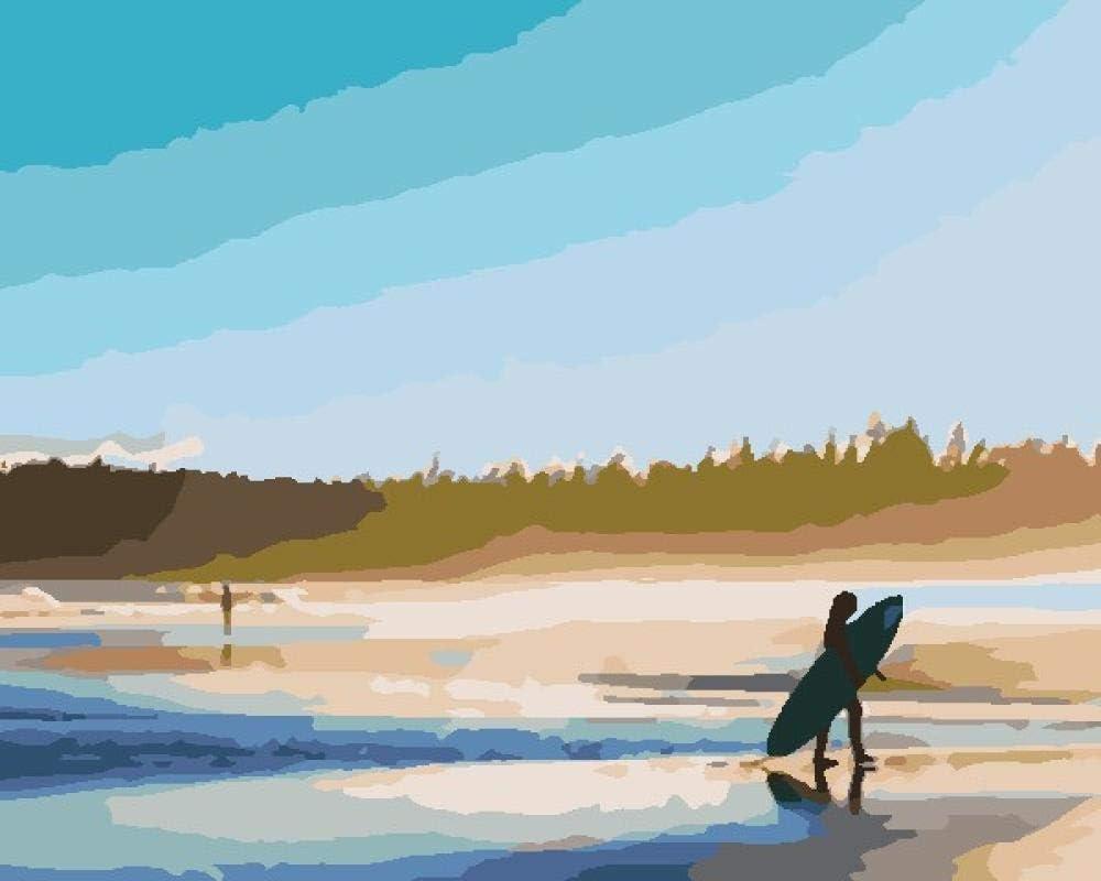 Pintar por Numeros Adultos Surfeando Junto Al Mar con Pintura Acrílica para Decoración del Hogar Pintar por Números para Niños Adultos Kit Sin Marco 40,6X50,8 Cm
