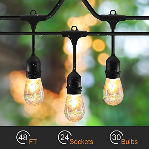 48ft String Lights with 24 x E26 Dropped Sockets and Hanging Loops - 30 x 11 Watt S14 Bulbs Included (6 Spares), Indoor/Outdoor Light Strings, String of lights.