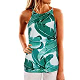 WLLW Women Crew Neck Sleeveless Floral Print Shirt Tops Tee Tanks Camis (US 2XL, Green)