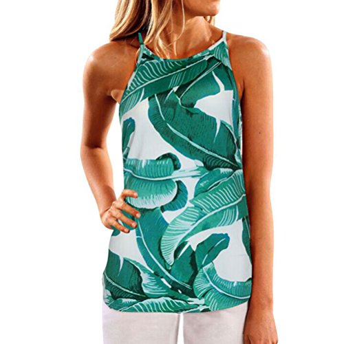 WLLW Women Crew Neck Sleeveless Floral Print Shirt Tops Tee Tanks Camis (US L, Green) -