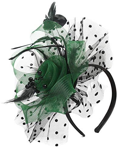 Feather Fascinators Dot Veil Flower Cocktail Tea Party Headwear Wedding Hats Knetucky Derby Headband for Women Hat Hair Clip (Green and Black)
