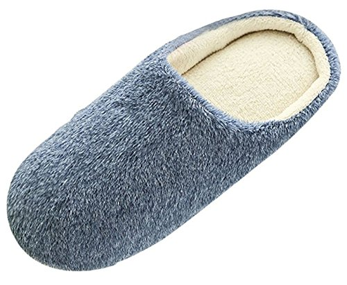 Eagsouni Mens Womens Cozy Plush Indoor Slippers Home House Winter Warm Floor Slip On Shoes Dark Blue iUoTqJjY