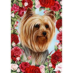 Valentines Roses Garden Size Flag - Yorkshire Terrier