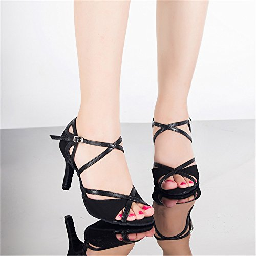 Mujer Zapatos De Baile Latino Capilla Chan Zapatos Negro 6cm