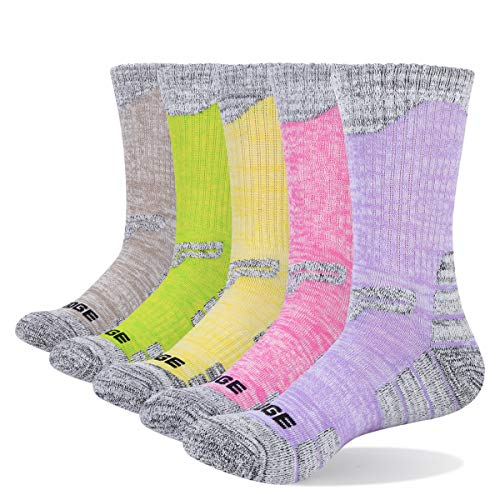 YUEDGE Women's Moisture Wicking Cotton Cushioned Crew Socks 5 Pairs/Pack Sports Outdoor Athletic Walking Hiking Socks
