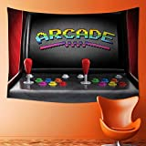 L-QN Wall Tapestry Arcade Machine Retro Gaming Fun Joystick Buttons Vintage 80s 90s Electronic Multicolor Room Dorm Accessories Wall Hanging Tapestry