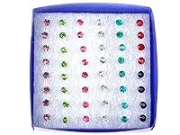 Imixlot(TM)Women's Acrylic Wholesale 144Pairs(6boxes) Invisible Bar Crystal Earring Studs Bulk Multicolor