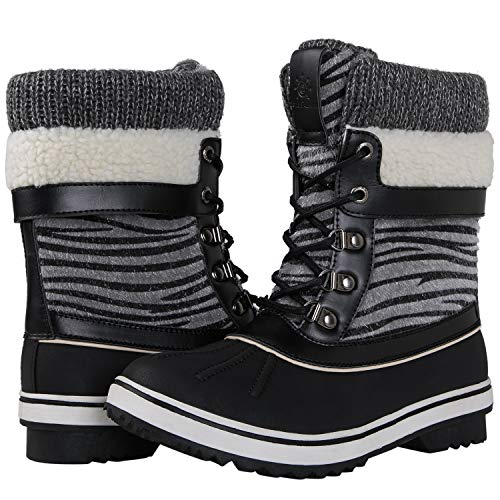 (GLOBALWIN Women's Black Zebra Stripe Winter Snow Boots 8.5M US)