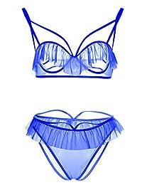 Dawafa Women's 2 Piece Sexy Lace Lingerie Babydoll Sleepwear Underwear Plus Size