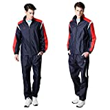 Fuerza Mens Built-In Hood Lightweight Mesh Track Jacket Pants Woven Tracksuit (Navy, X-Large)
