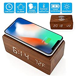 Oct17 Wooden Alarm Clock with Qi Wireless Charging Pad for iPhone Sumsang, Wood LED Digital Clock with Sound Control Function, Time Date, Temperature Display for Bedroom Office Home - Brown