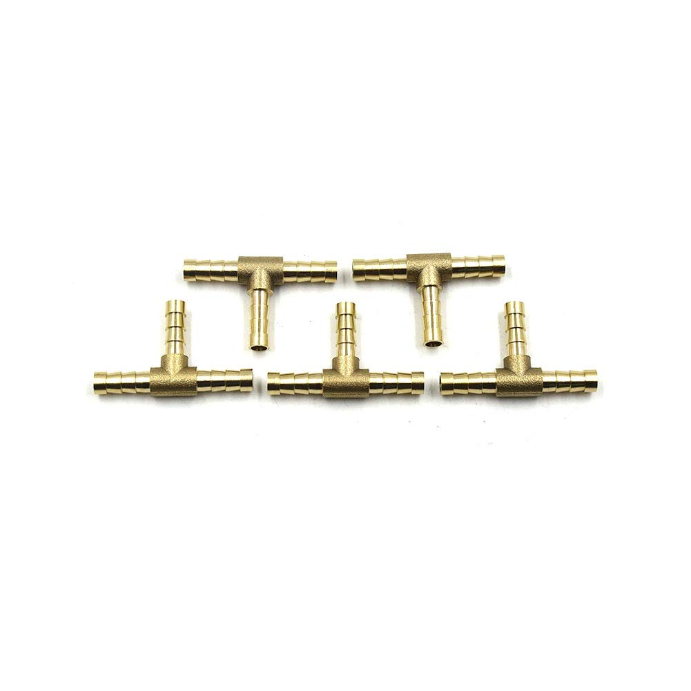 5Pack TOUHIA 6MM T Shaped Brass Hose Barb Tee Hose ID Barbed 3-Way Tee Brass Fuel Hose Fitting Coupler Adapter for Fuel Gas Water