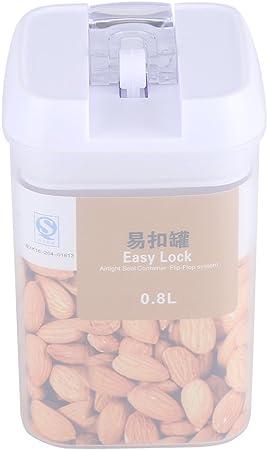 Caja de Almacenamiento de Alimentos de Plástico Envases para Alimentos Dispensador de Contenedores con Tapa Hermética (0.8L): Amazon.es: Hogar