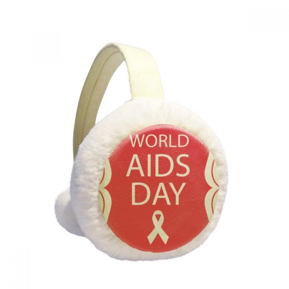 Red Ribbon 1st December HIV Winter Earmuffs Ear Warmers Faux Fur Foldable Plush Outdoor Gift