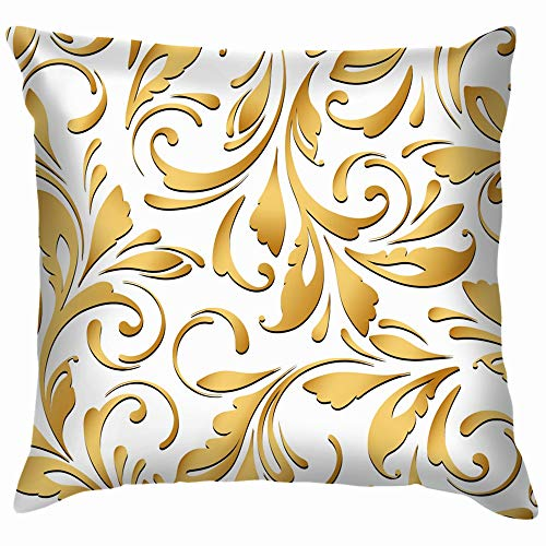 Golden Flowery Floral Texture Baroque Pillow Case Throw Pillow Cover Square Cushion Cover 26X26 Inch