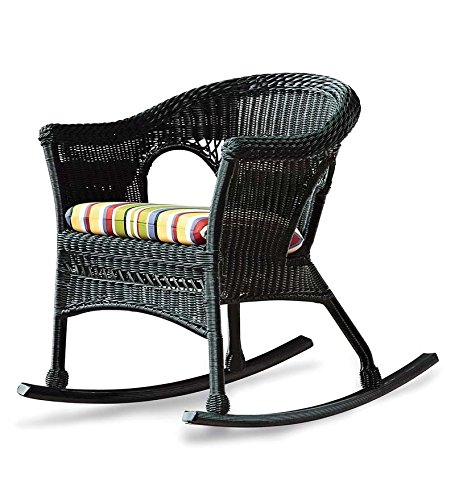 Plow & Hearth Easy Care Outdoor Furniture Resin Wicker Rocking Chair 27 W x 34.5 D x 31 H Black ()