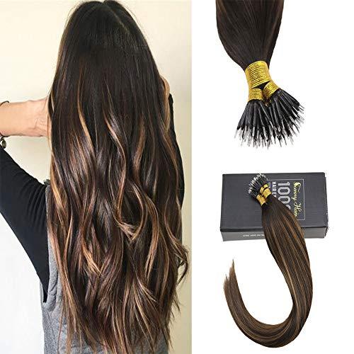 Sunny Real Human Hair Extensions Nano Brown Balayage