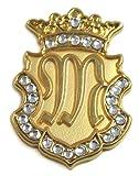 Navika Gold Initial Swarovski Crystal Ball Marker with Matching Royal Crown Hat Clip (M)