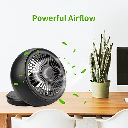 Mini USB Fan, Throne 6 Portable Desk Fan w/USB and Battery Dual Power Supply, Angle Adjustable and Low Noise, Silent Cooling Fan for Home, Office with Powerful Airflow (Black) by WolfArya (Image #2)